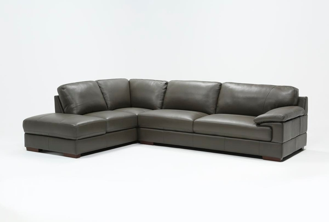 Nico Dark Grey Leather Sectional With Left Arm Facing Armless Storage Chaise - 360