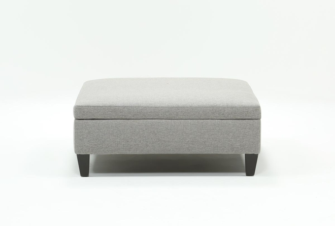 Perch White Large Square Storage Ottoman - 360