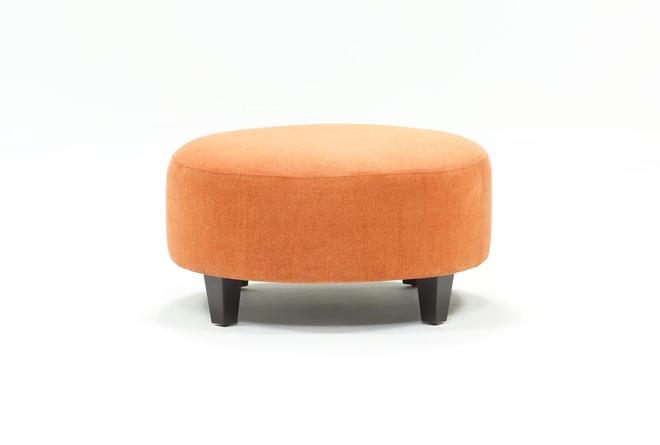 Perch Fabric Medium Round Ottoman - 360