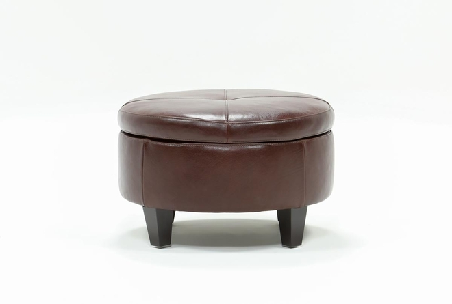 Perch Leather Small Round Storage Ottoman - 360