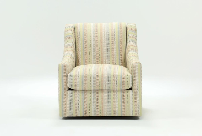 Emerson II Natural Striped Swivel Accent Chair - 360