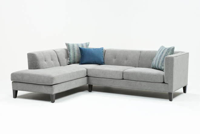 Avery II Teal 2 Piece Sectional with Left Arm Facing Armless Chaise - 360