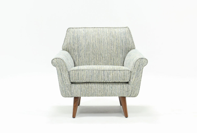 Patterson III Light Blue Striped Accent Chair - 360