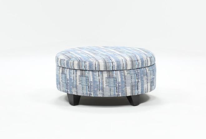Benton II Medium Round Fabric Storage Ottoman - 360