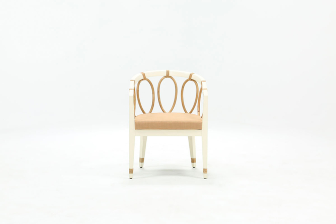 White + Beige Rattan Chair By Nate Berkus and Jeremiah Brent - 360