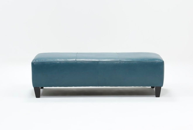 Perch Leather Large Rectangle Ottoman - 360