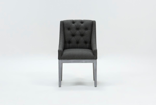 Alexa Charcoal Linen Dining Side Chair With Cement Legs - 360