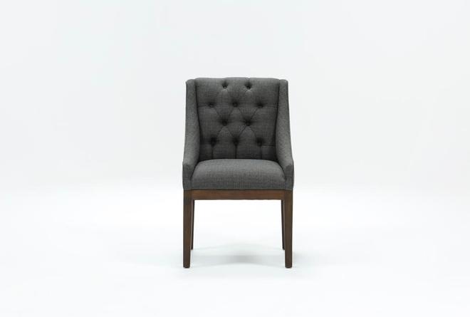 Alexa Charcoal Linen Dining Chair With Cognac Legs - 360
