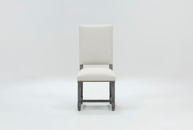 Pacifica White Linen Dining Chair With Cement Legs - 360