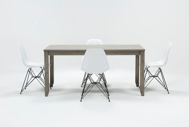 Matias Grey 5 Piece Dining Set With Alexa White Chairs - 360