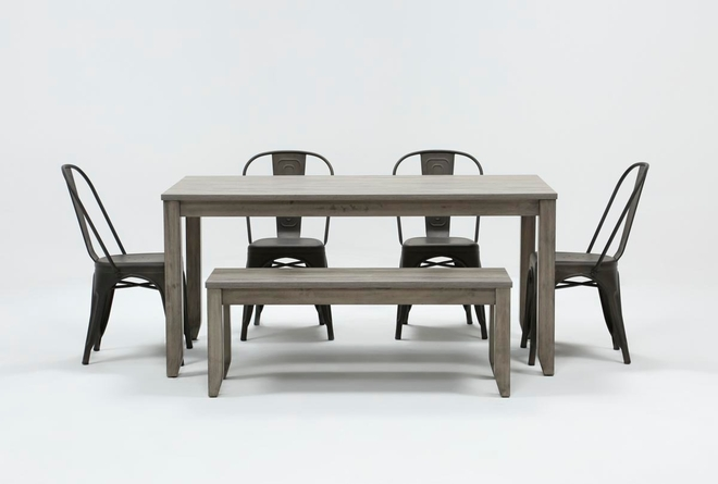 Matias Grey 6 Piece Dining Set With Delta Bronze Chairs - 360