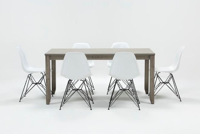 Matias Grey 7 Piece Dining Set With Alexa White Chairs - 360
