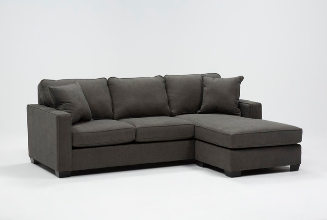 "Egan II Charcoal 93"" Sofa With Reversible Chaise - 360"