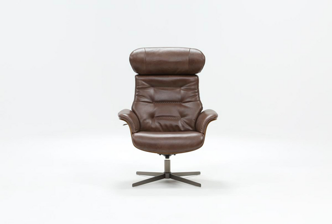 Amala Brown Leather Reclining Swivel Chair With Adjustable Headrest - 360