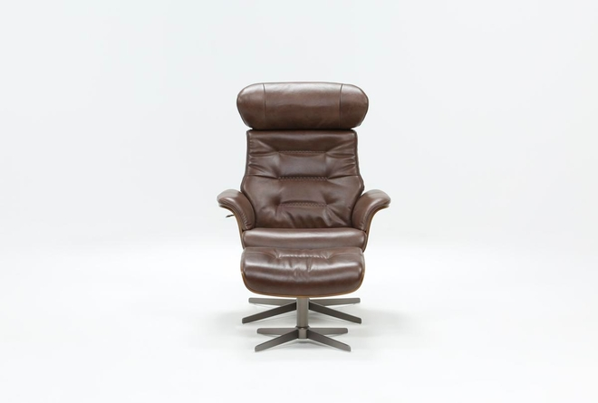 Amala Brown Leather Reclining Swivel Chair With Adjustable Headrest And Ottoman - 360
