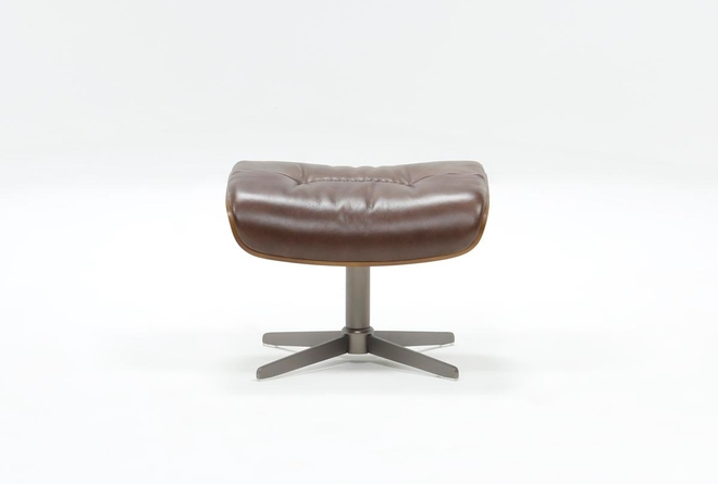 Amala Brown Leather Ottoman - 360