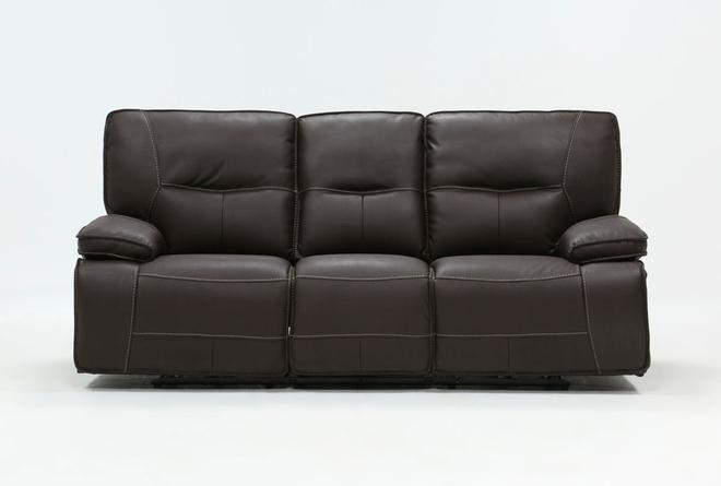 Marcus Chocolate Power Reclining Sofa W/Power Headrest & Usb - 360