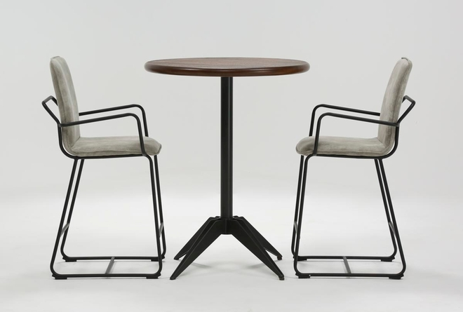 Oslo 3 Piece Pub Set With Herman 26 Inch Stools  - 360