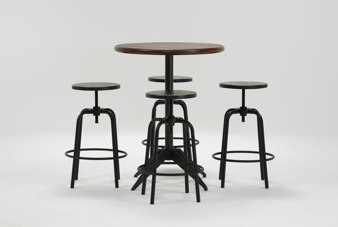 Oslo 5 Piece Pub Set With Millie Adjustable Stools  - 360