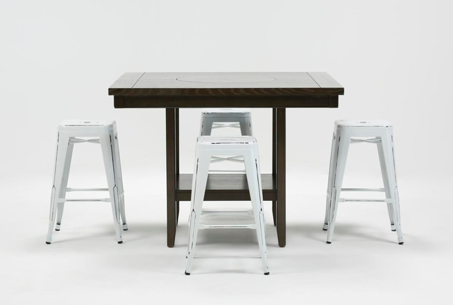 Sutton 5 Piece Counter Set With Radical White Stools - 360