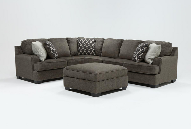Devonwood 3 Piece Sectional W/ Raf Loveseat and Ottoman - 360