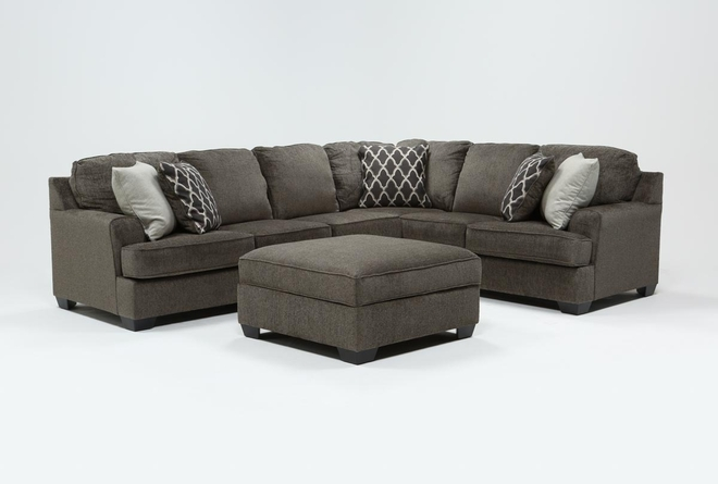 Devonwood 3 Piece Sectional with Left Arm Facing Loveseat and Ottoman - 360