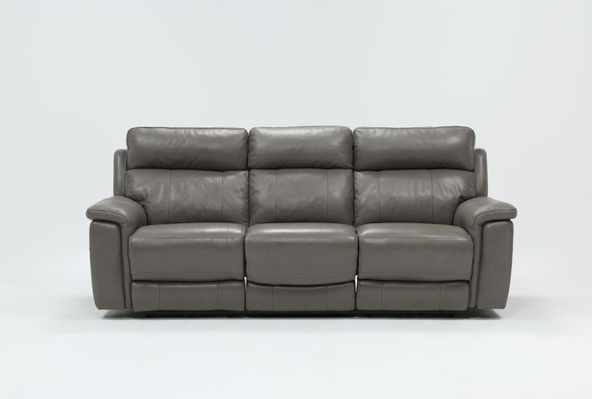 Dino Grey Leather Power Reclining Sofa W/Power Headrest & Usb - 360