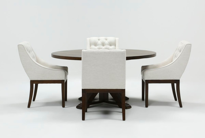 La Phillippe Cognac 60 Inch 5 Piece Round Dining With Alexa White Chairs - 360