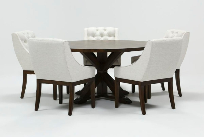La Phillippe Cognac 60 Inch 6 Piece Round Dining With Alexa White Chairs - 360
