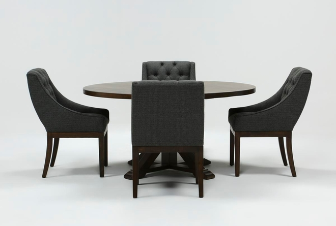 La Phillippe Cognac 60 Inch 5 Piece Round Dining With Alexa Charcoal Chairs - 360