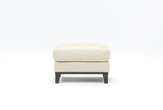 Kathleen Cream Leather Ottoman - 360