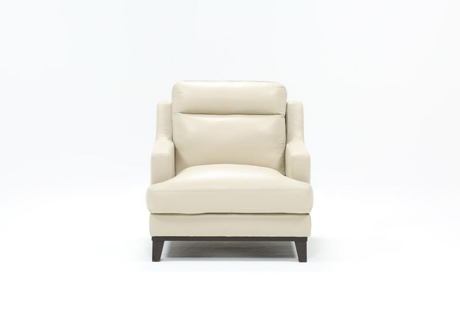 Kathleen Cream Leather Chair - 360
