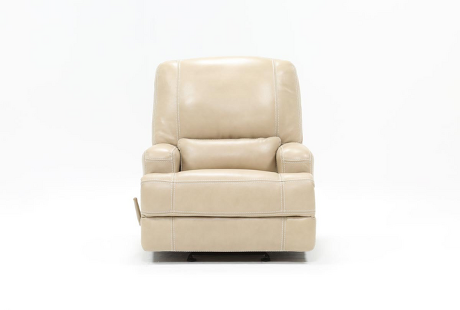 Grandin Wheat Leather Glider Recliner - 360