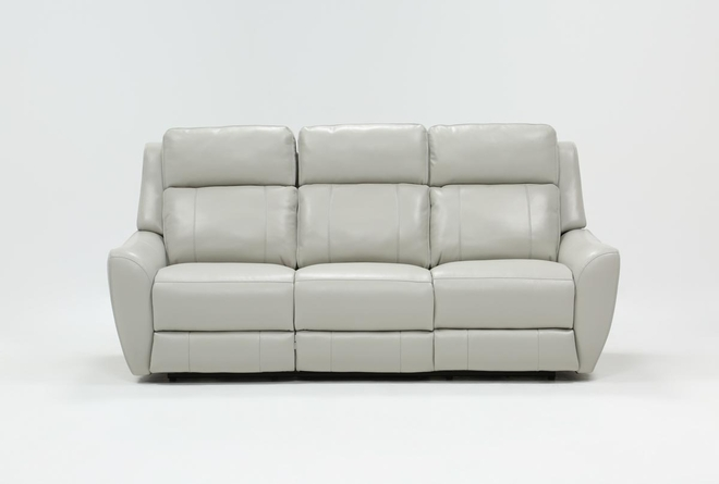 "Bridget White 86"" Power Reclining Sofa With Power Headrest and Lumbar - 360"