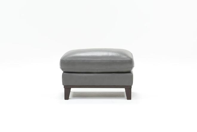 Kathleen Dark Grey Leather Ottoman - 360