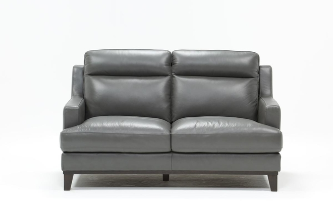 Kathleen Dark Grey Leather Loveseat - 360