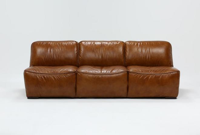 Burton Leather Armless Sofa - 360