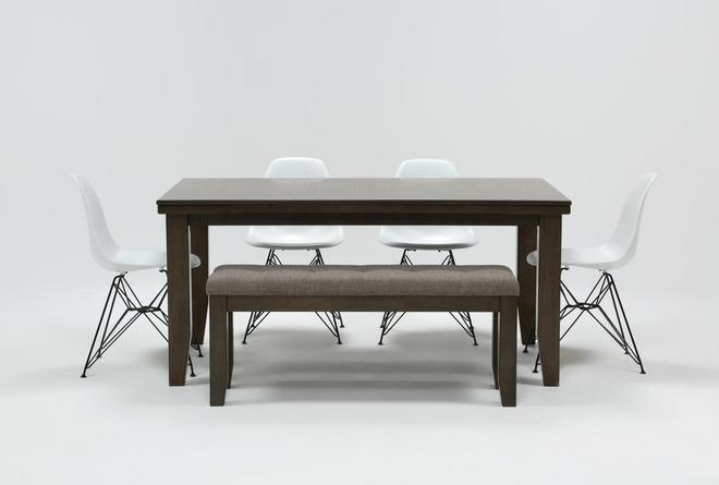 Ashford II 6 Piece Dining Set With Alexa White Chairs - 360