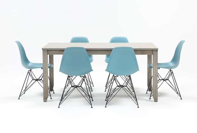 Matias Grey 7 Piece Dining Set With Alexa Reef Chairs - 360