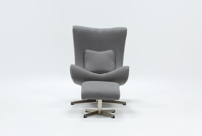 Anne II Grey Chair and Ottoman - 360