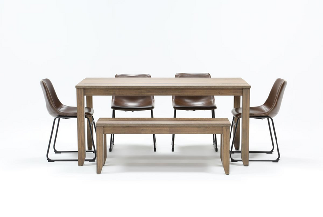 Matias Brown 6 Piece Dining Set With Cobbler Chairs - 360