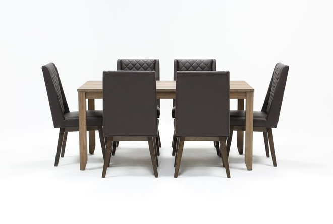 Matias Brown 7 Piece Dining Set With Links Chairs - 360