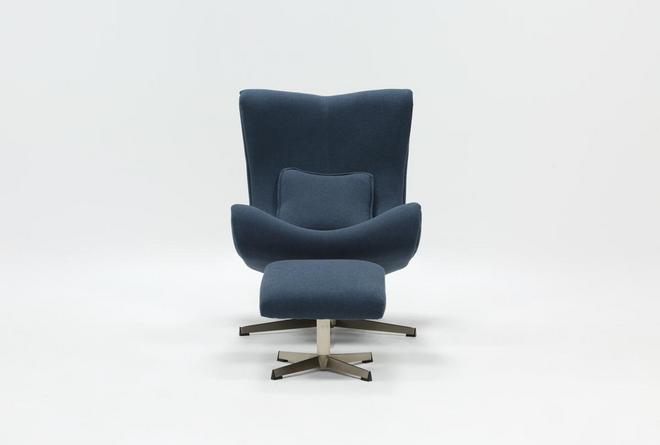 Anne II Blue Chair and Ottoman - 360