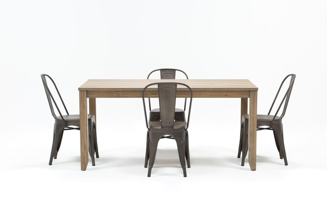 Matias Brown 5 Piece Dining Set With Delta Bronze Chairs - 360