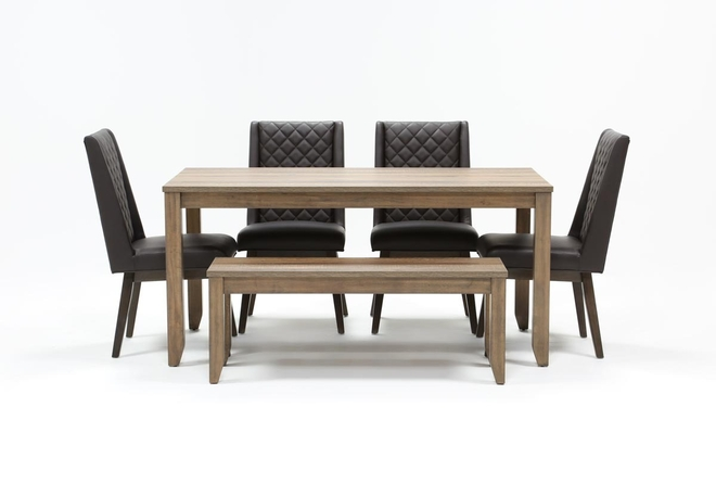 Matias Brown 6 Piece Dining Set With Links Chairs - 360