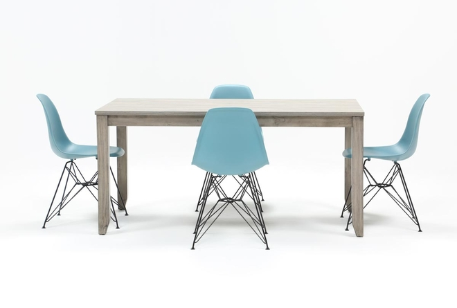 Matias Grey 5 Piece Dining Set With Alexa Reef Chairs - 360