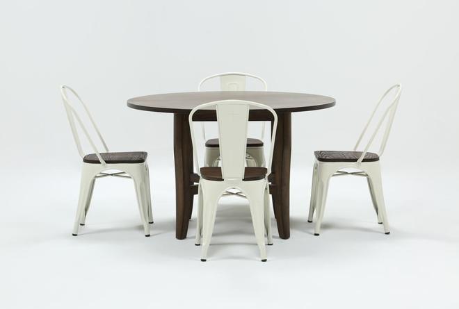 Grady Round 5 Piece Dining Set With Delta White Chairs - 360