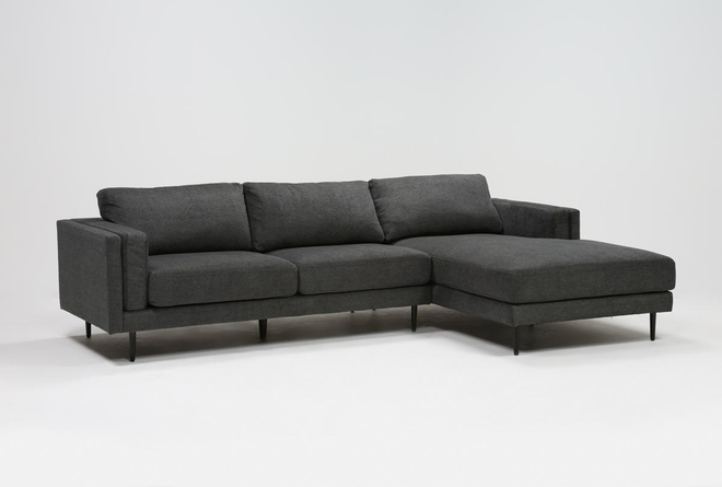 "Aquarius II Dark Grey 2 Piece 120"" Sectional With Right Arm Facing Chaise - 360"
