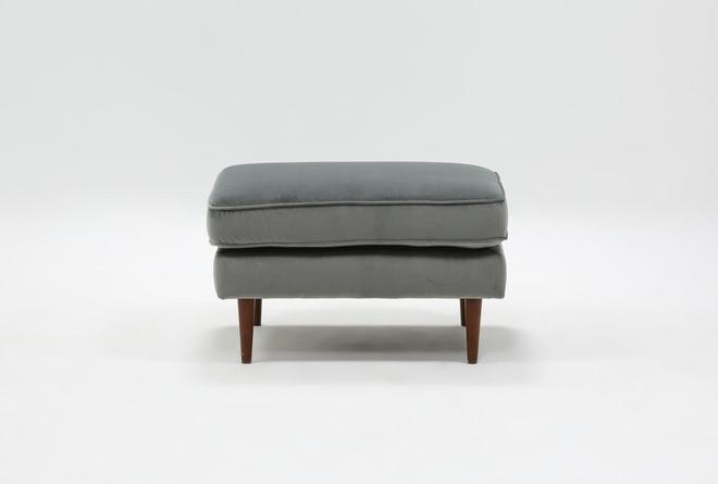 Fairfax Steel Grey Velvet Ottoman - 360