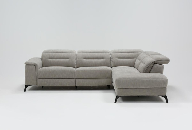 Lexi Platinum 2 Piece Power Reclining Sectional With Right Arm Facing Chaise and Usb - 360